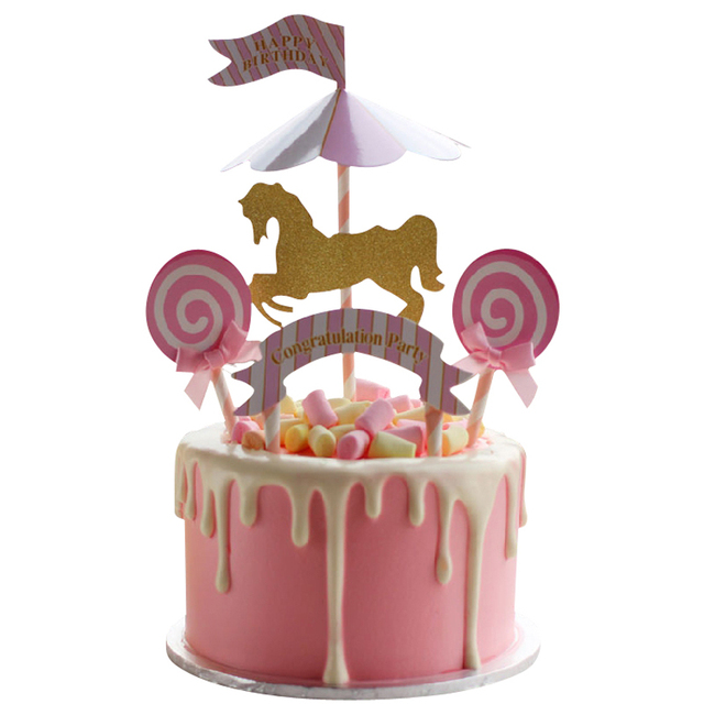 Amusement Park Carousel Horse Cake Topper Unicorn Birthday