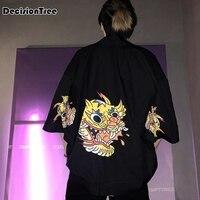 2019 summer high quality japanese style streetwear harajuku men robe hiphop personality cardigan kimonos coat clothes
