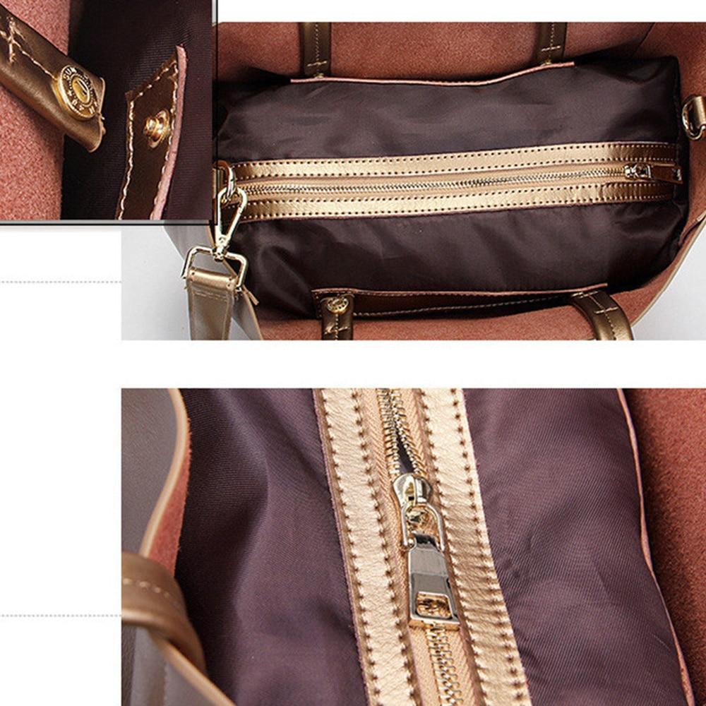 Zency Luxury Gold Women Shoulder Bag 100% cuero genuino bolso de gran - Bolsos - foto 6