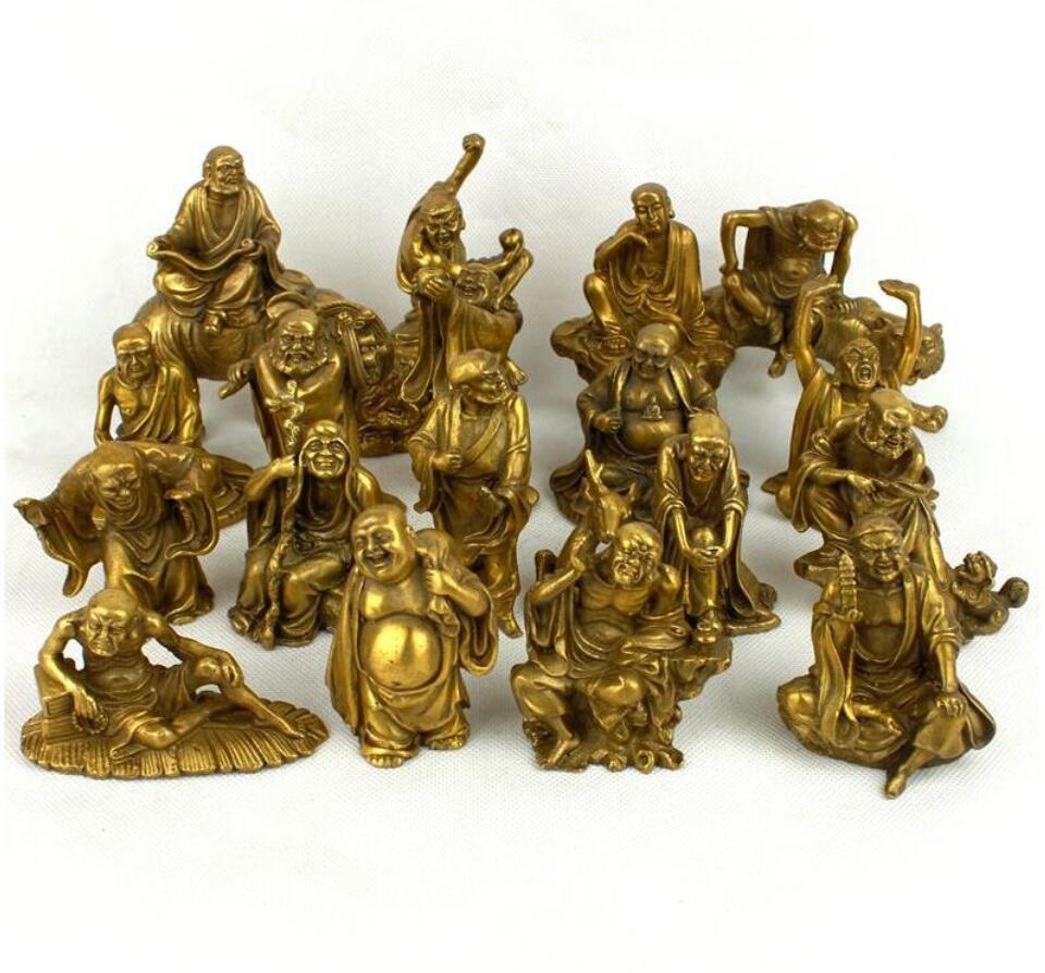 limit the quantity!!! Collectible Chinese Decorated Brass Carved  18 Rohan  Sculpture/Metal  Buddha Statue