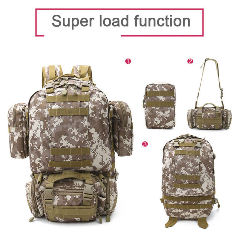 4 in 1 sports camouflage multifunctional backpack 3P Tactical Backpack Climbing Camping Hiking Backpack Mountaineering Bag multifunctional outdoor sports retractable plastic climbing safety rope black