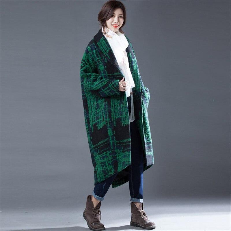 Couleur Manteaux Femmes Manteau Laine Loose L'automne Fit De Et Vert Pour long L'hiver Mode X Bloc vfn4wW5x1f