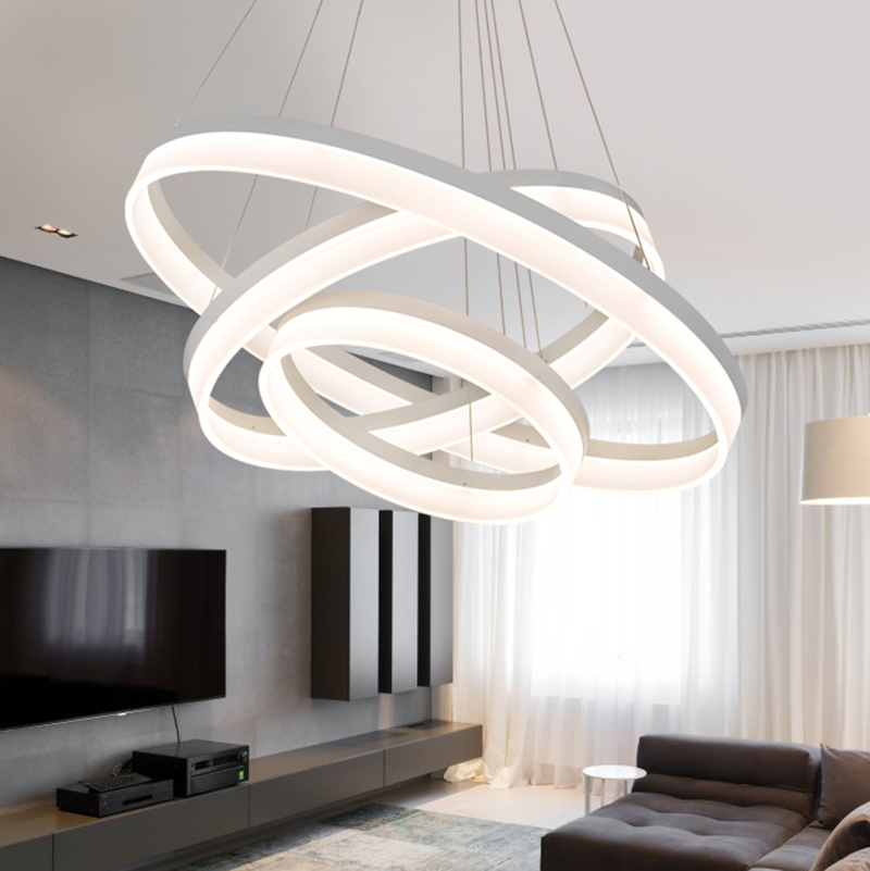 110v 220v Circel Rings Led Pendant Light Lampadario Camera Da Letto ...