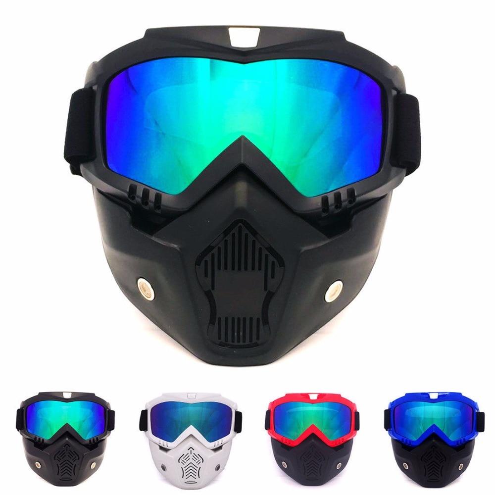 Modular Helmets Face Mask, Detachable Goggles & Mouth Filter Guard - Winter Snow Sports Ski Snowboard Snowmobile Glasses Eyewear