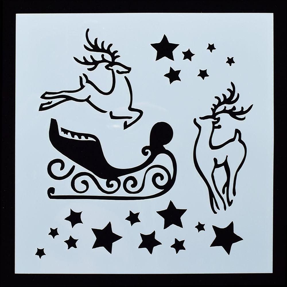 1 Pcs Reusable Christmas Elk Shaped Airbrush Painting Stencils Scrapbooking Album Crafts Free Shipping