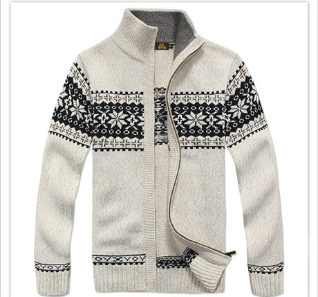 NIANJEEP Brand Thick New White Blue Gray Men Long Sleeve Winter Sweaters Coats & Jackets Man 30% Wool Flower Sweater Men A0373 la palmyre zoo