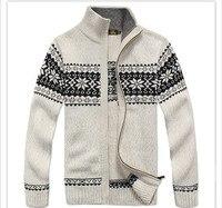 Nianjeepブランド厚い新しいホワイトブルーグレー男性ロングスリーブ冬セーターコート&ジャケット男30%ウール花セーター男