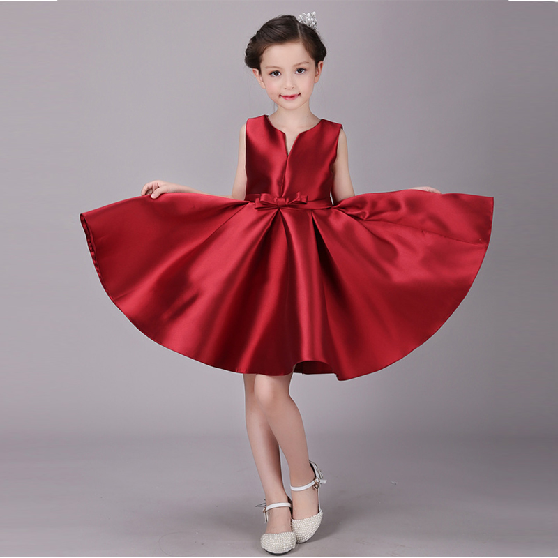 It's YiiYa Flower Girl Pageant Dresses For Wedding Red Elegant V-Neck Ball Gown Bow Belt Kid Party Communion Dress 2019 BX6670