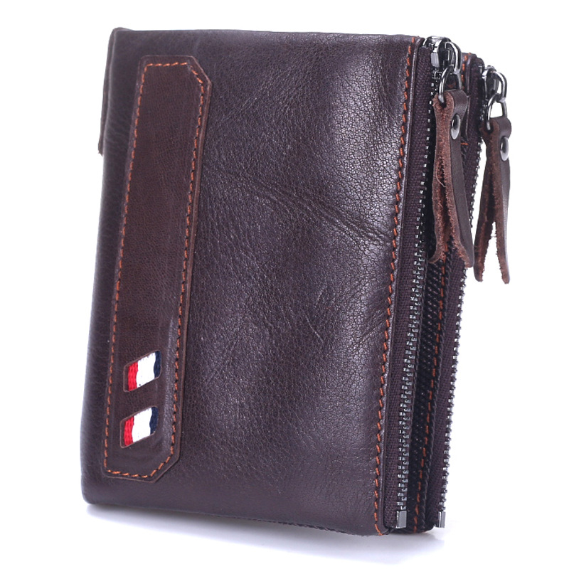 Hot Genuine Leather Men Wallet Crazy Horse Cowhide Short Coin Purse Small Vintage Wallet Brand High Quality Vintage Designer 2017 genuine cowhide leather brand women wallet short design lady small coin purse mini clutch cartera high quality