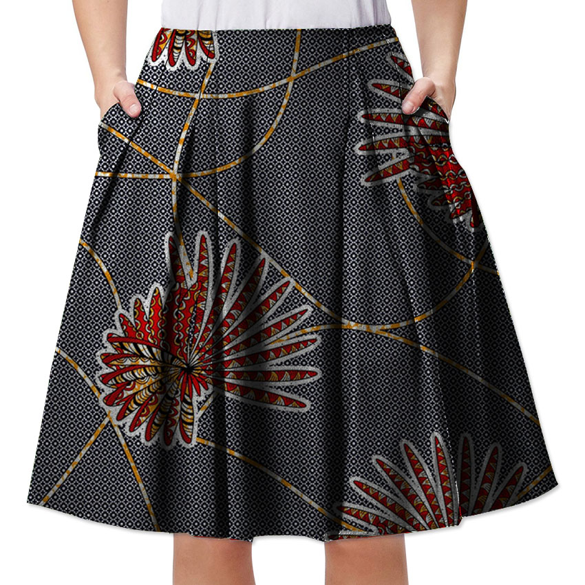 Elegant bright wax africa print outfits Africa element patterns dashiki skirts Pleate skirts wedding clothes for African ladies