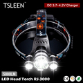 TSLEEN 2*XM-L T6+1*T2 Headlamp Rechargeable LED Head Torch+Charger Cycling/Hiking