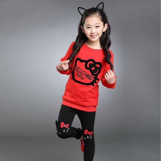 New 2018 Autumn Girls Set Cartoon Children Tracksuit kids clothing suit baby girls t shirt+pants 2 pcs sets suit 3 Colors