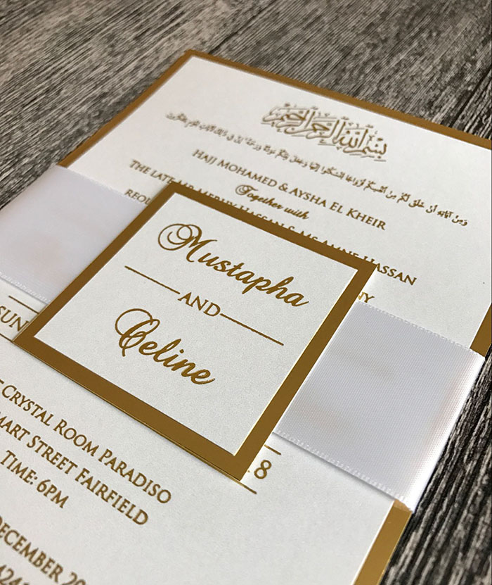 Gold and White Wedding Invitations with Ribbon Band and Tag-in Cards ...