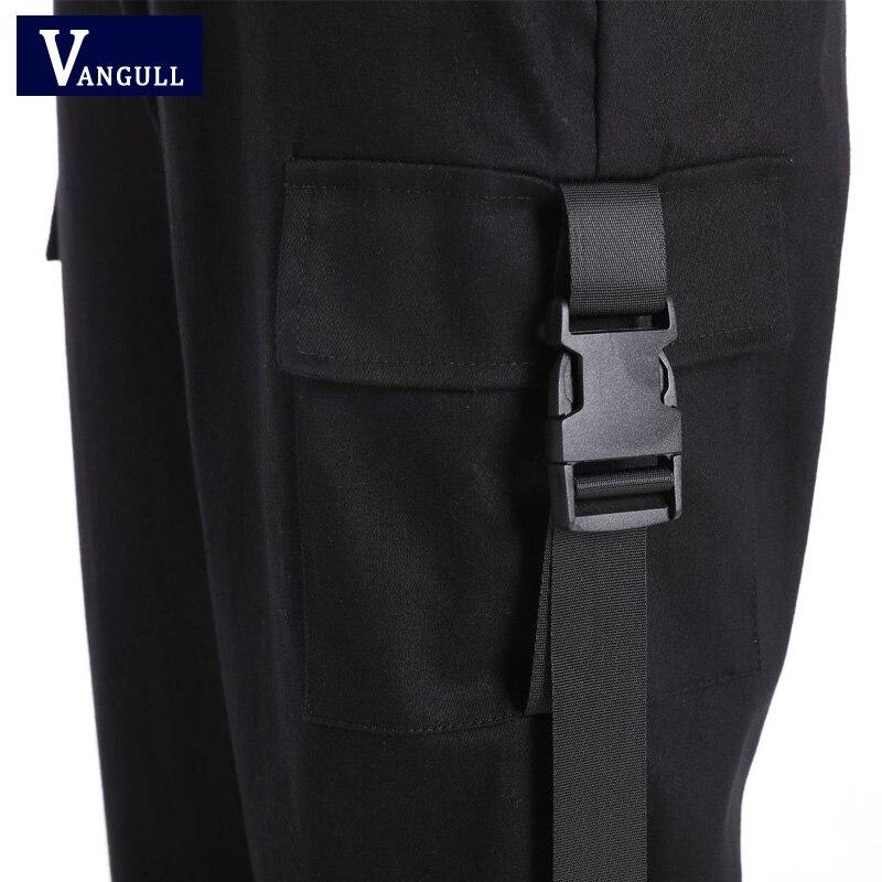 Vangull Black High Waist Cargo Pants Women Pockets Patchwork Loose Streetwear Pencil Pants 2019 Fashion Hip
