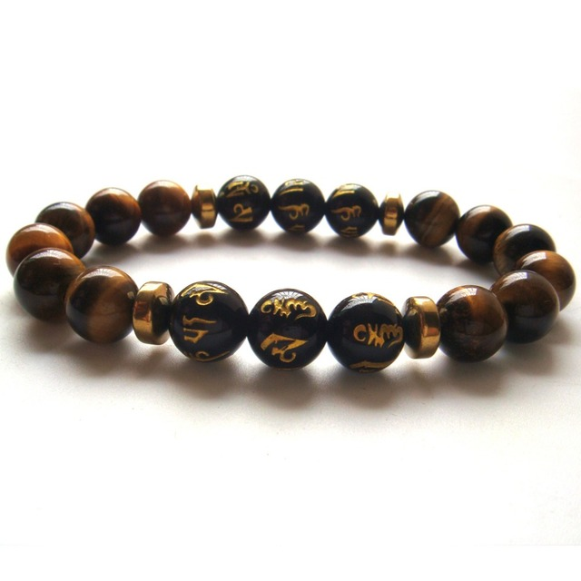 2017 1PC Tiger Eye Gem Tibetan Agate 6 Syllable Mantra Beads Stretch Bracelet Gift Box