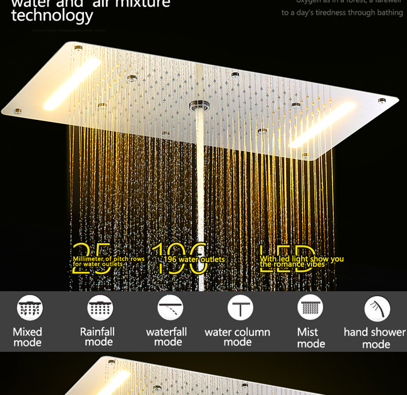 Luxury Shower Set Accessories Ceiling Multifunction Led Strip Shower Head Set with Rainfall Waterfall Spray Mist Water Column (5)
