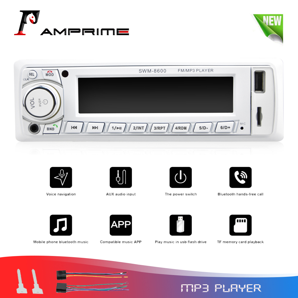 AMPrime Autoradio 1 din Car Radio Bluetooth Music MP3 Multimedia Player Support FM USB/SD/AUX Input Auto Audio Stereo Receiver image