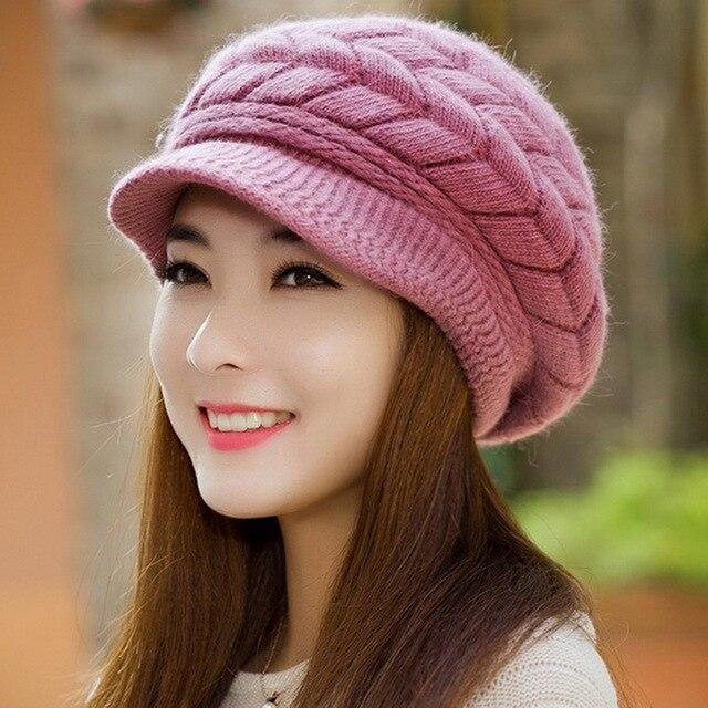 0b043194 € 5.08 30% de DESCUENTO SANDMAN mujeres añadir lana piel conejo invierno  sombrero cálido gorros tejidos sombreros para mujer Otoño e Invierno ...