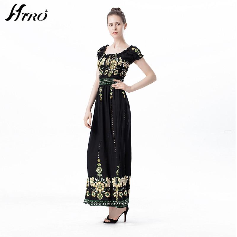 2017 HIRO Summer Dresses Boho Style Off Shoulder Long Dress Women Floral  Print Vintage Chiffon Sex Max Dress Vestidos De Fiesta-in Dresses from  Women s ... 36255be902ad