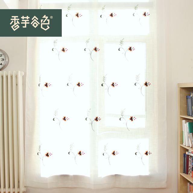 S&V Ikea Modern Embroidery Door Curtains Flowers Cortinas