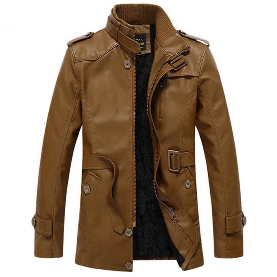 c93251c9 Winter Leather Jacket Men Stand Collar Leather Motorcycle Jackets Mens  Fashion Thick Velet Warm Washed Long Windbreaker Coats