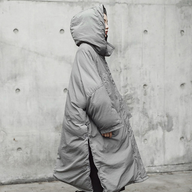 [EAM]  Hooded Cotton-padded Gray Oversize Long Warm Coat Long Sleeve Loose Fit Women Parkas Fashion Autumn Winter 2019 JE02002 30