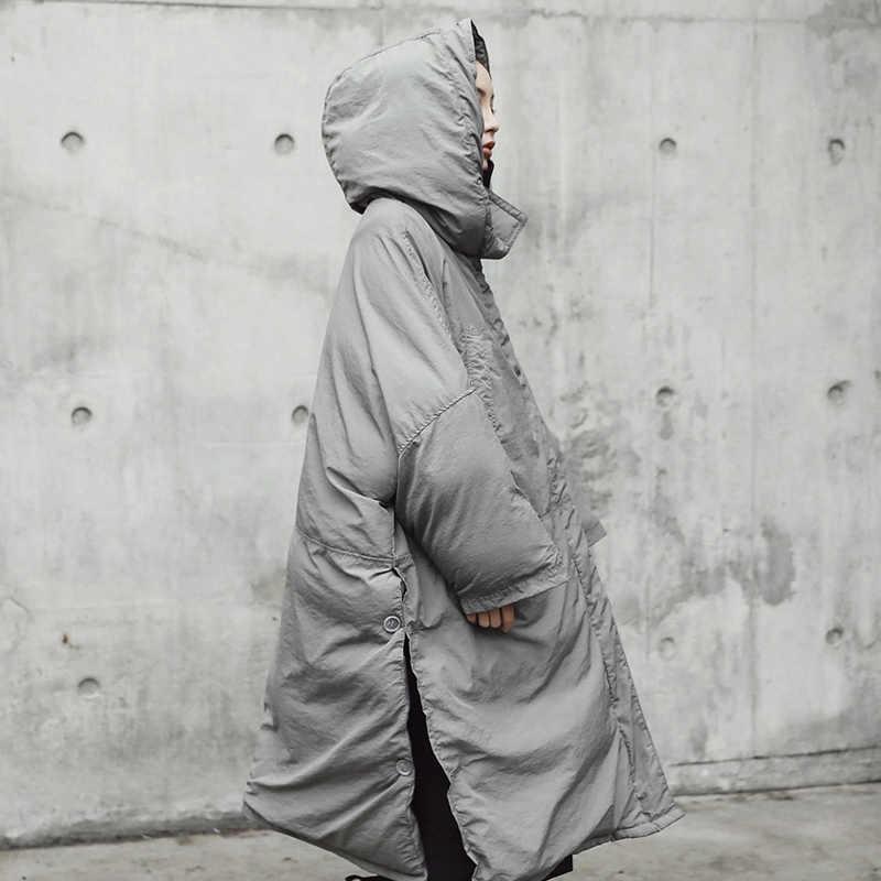 [EAM] Hooded Cotton-padded สีเทาขนาดใหญ่ยาวแขนยาวหลวม Fit ผู้หญิง Parkas แฟชั่นฤดูใบไม้ร่วงฤดูหนาว 2020 JE02002