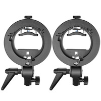 Neewer 2 Packs S Type Bracket Holder With Bowens Mount For Speedlite Flash Snoot Softbox Beauty