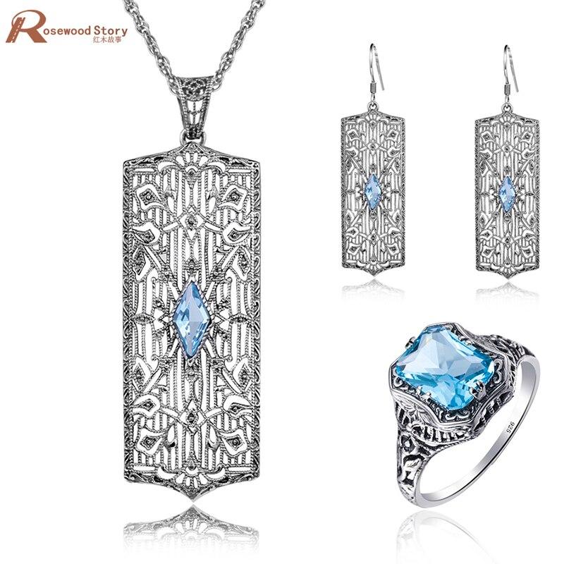 Mode Vintage bijoux ensemble pour femmes Dubai bleu CZ pierre cristal bijoux de mariage 925 argent ensembles de fiançailles fête cadeau de l'amour