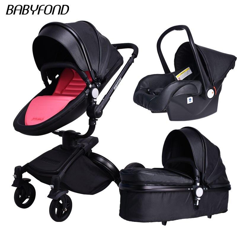 Cadre noir marque babyfon Top vente bébé poussettes 360 rotation haute qualité cuir blanc noir couleur 3 en 1 chariot beaucoup de couleurs