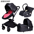 Zwart frame babyfon Merk Top Verkoop Kinderwagens 360 Draaien Hoge Kwaliteit Leer Wit Zwart Kleur 3 In 1 Vervoer vele kleuren
