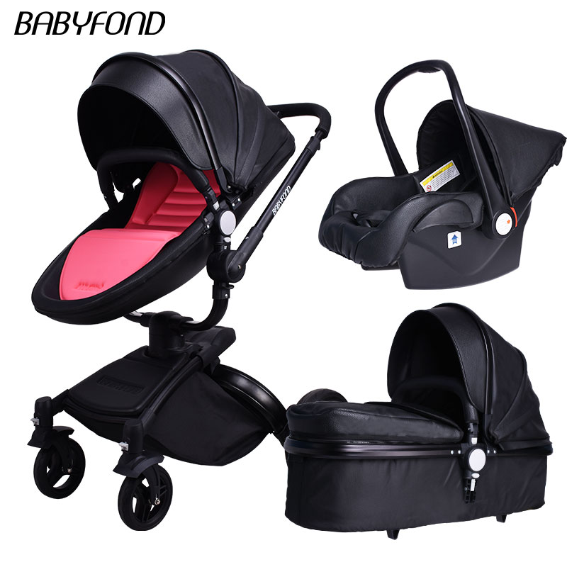 black frame babyfon Brand Top Sell Baby Strollers 360 Rotate High Quality Leather White Black Color