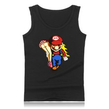 Super Mariorun Black Muscle Tank Tops for Men Sleeveless Shirts and Funny Game Super Mario Summer Vest Clothing 4XL