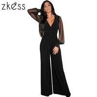 Zkess Damenmode Sexy Clubwear Body Schwarz Mit Verzierung Manschetten Lange Netz Sleeves Jumpsuit Heißer Verkauf Casual Kleidung LC6650