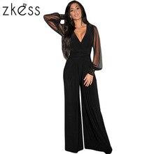 Zkess Для женщин модные, пикантные Клубные боди черный украшенные манжеты длинными сетчатыми рукавами комбинезон Лидер продаж Повседневная одежда LC6650