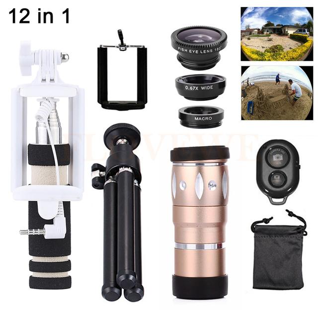 12in1 lentes de la cámara con trípode selfie stick 10x zoom telefoto Lentes de ojo de Pez de Gran Angular Macro Lente HD Clips Para Celular teléfono