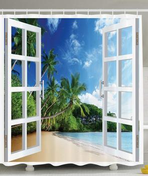 Океан Душ занавеска декор, пальмы тропический остров пляж Природа рай панорамная картина через деревянные окна сцены