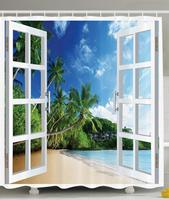 Ocean Shower Curtain Decor by, Palm Trees Tropical Island Beach Nature Paradise Panoramic Picture Through Wooden Windows Scene