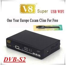 Freesat V8 super boîte ouverte + 1 Année cccam cline Europe Cccam Serveur HD DVB-S2 Récepteur Satellite + USB WIFI soutien 3G iptv