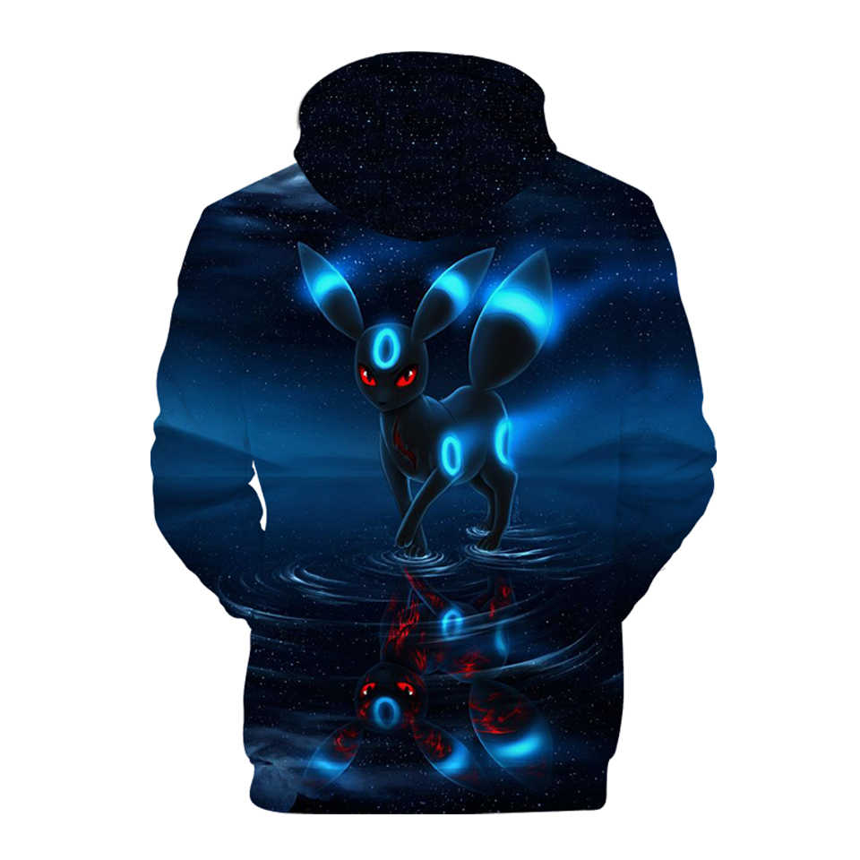 K-pop Pokemon Umbreon Fashion 3D Print Women Hoodie Anime Spring Sweatshirts Casual Men/Women Hoodies hoodies Plus size For Sale