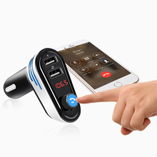 цена на JONSNOW Bluetooth 4.2 Car Kit Handsfree FM Transmitter Wireless A2DP Car MP3 Player Support U Disk 5V 3.1A Dual USB Car Charger