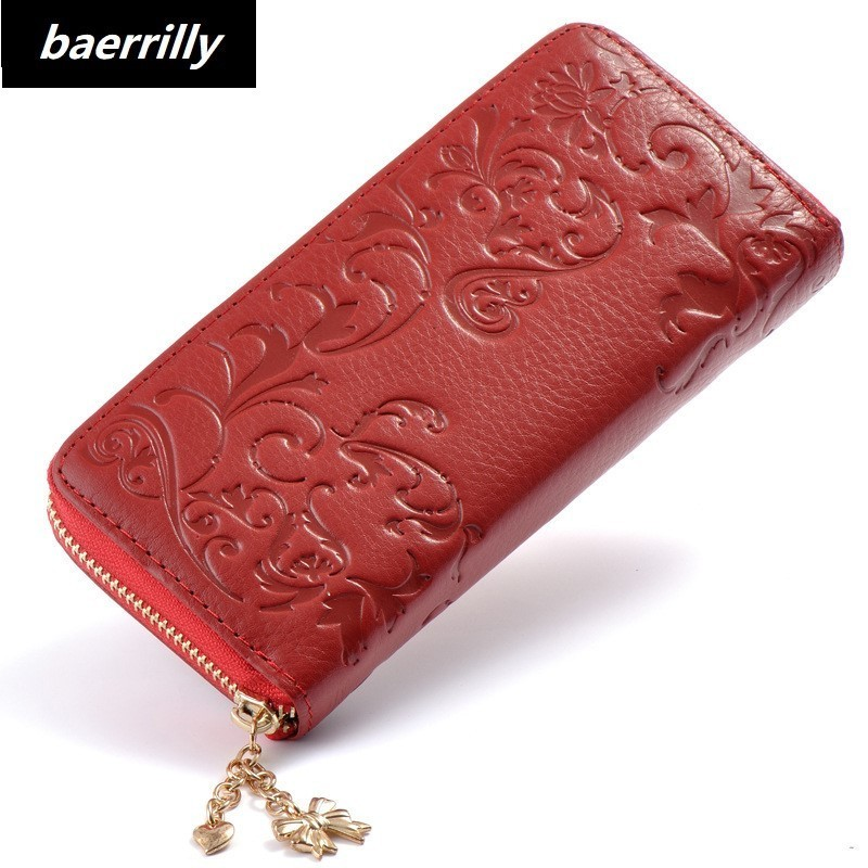 fashion Floral Wallet Women Long Lady Clutch Wallet Large Genuine Leather Female Card Holder Wallets Coin Phone Purse Wristlet 2017 new genuine leather wallet women lady long wallets women purse female 5 colors women wallet card holder day clutch dc234