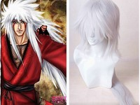 Naruto Jiraiya Long White Ponytail Heat Resistant Sythentic Hair Cosplay Costume Wig + Cap