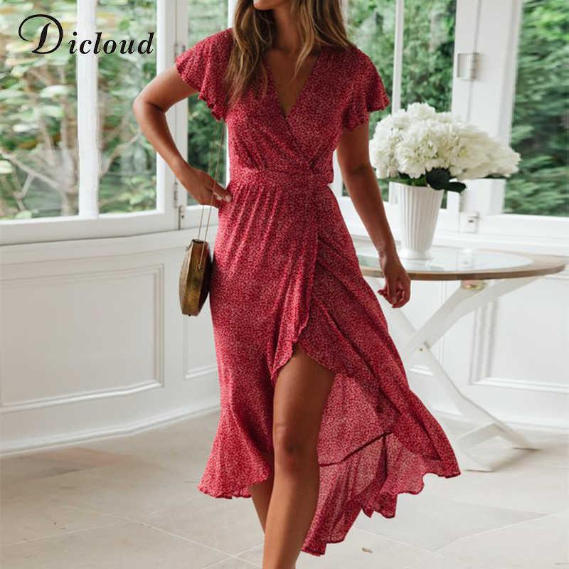 DICLOUD элегантное Бохо длинное платье русалки женское летнее пляжное сарафан рукава-фонарики с оборками облегающее богемное платье миди