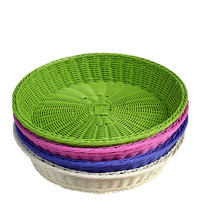 Caioffer Hand Woven Storage Baskets For Toys Fruit Food Vegetables Bread Imitation Rattan Wicker Panier Organizer