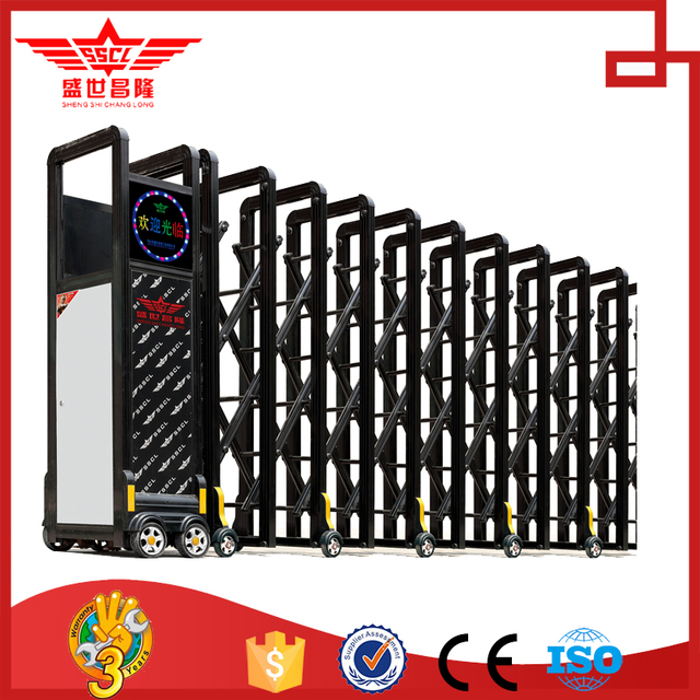 New Design Aluminum Alloy Auto Collapsible Gate Stretch Road Door With  Remote Control L1439