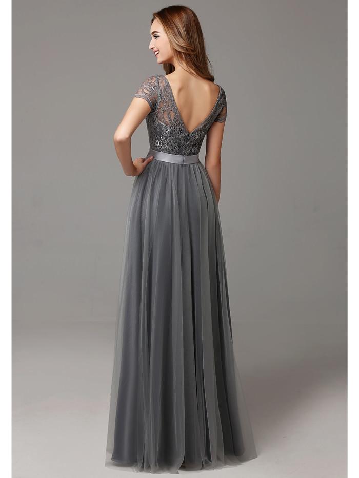 2017 pilka ilgai kuklus nėrinių tamponas grindų ilgis Moterų - Suknelės vestuvėms - Nuotrauka 3