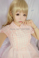 Summer Girls Lolita Pink Plaid Dress Fashion Kawaii Cute Lovely Shiny Japanese Brand Korea Lace Mesh Sweet Teens Maid Dresses