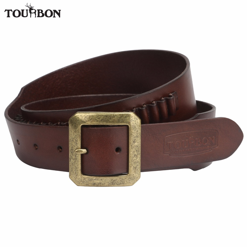 Tourbon Memburu Handgun Pistol .17 / .22 Rimfire Cartridge Belt 20 Pusingan Kulit Asli Amun Brown Ammo Bandolier Gun Accessories