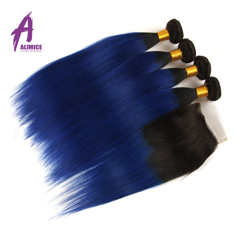 Alimice Hair Ombre Brazilian Straight Human Hair Weave 3 4 Bundles With Closure T1b blue Remy